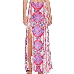 Mink Pink Floral high slit maxi skirt